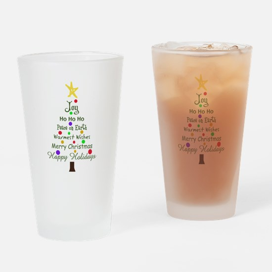 CHRISTMAS TREE GREETINGS Drinking Glass