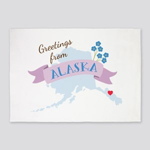 Greeting from Alaska 5'x7'Area Rug