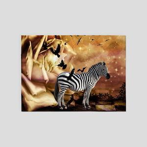 Beautiful zebra with birds in a wonderworl 5'x7'Ar