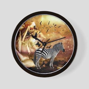 Beautiful zebra with birds in a wonderworl Wall Cl