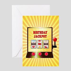 80th birthday, slot machine Greeting Cards