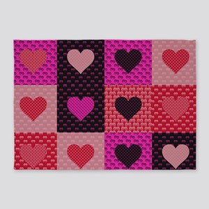 Hearts Quilt 5'x7'Area Rug