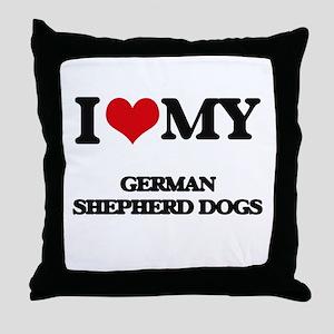 I love my German Shepherd Dogs Throw Pillow