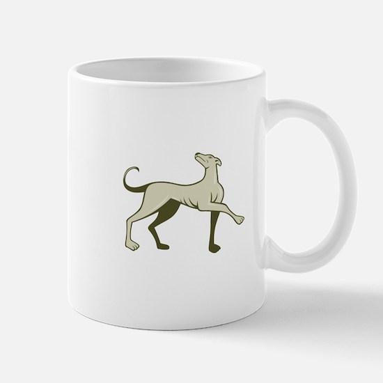 Greyhound Dog Marching Looking Up Cartoon Mugs