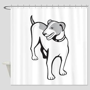 Jack Russell Terrier Standing Cartoon Shower Curta