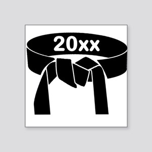 "Martial Arts Black Belt Square Sticker 3"" X 3"