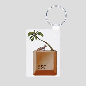 """ESCAPE """"Button"""" Aluminum Photo Keychain"""