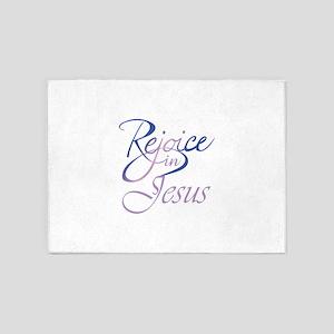 REJOICE IN JESUS 5'x7'Area Rug