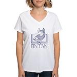Fin Tan Dk Blue Women's V-Neck T-Shirt