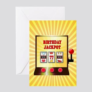 77th birthday, slot machine Greeting Cards