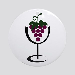 WINE GLASS GRAPES Ornament (Round)