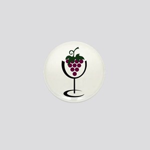 WINE GLASS GRAPES Mini Button
