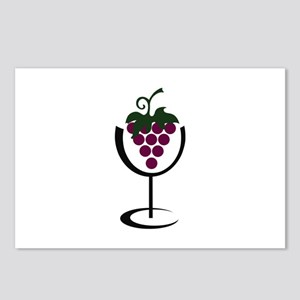 WINE GLASS GRAPES Postcards (Package of 8)