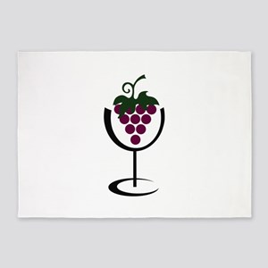 WINE GLASS GRAPES 5'x7'Area Rug