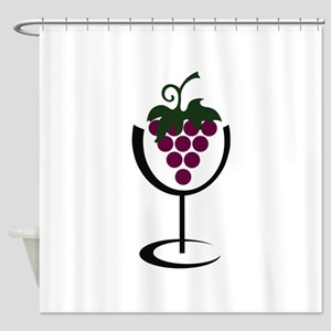 WINE GLASS GRAPES Shower Curtain