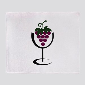 WINE GLASS GRAPES Throw Blanket