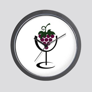 WINE GLASS GRAPES Wall Clock