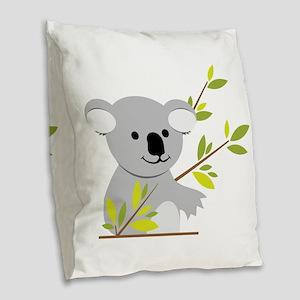 Koala Bear Burlap Throw Pillow