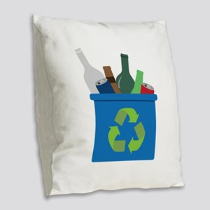 Full Recycle Bin Burlap Throw Pillow