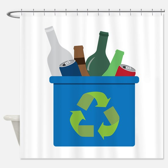 Full Recycle Bin Shower Curtain