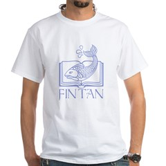 Fin tan lt blue line White T-Shirt