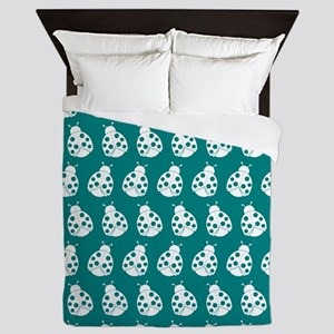Teal and White Cute Ladybugs Pattern Queen Duvet