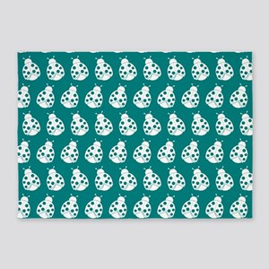 Teal and White Cute Ladybugs Patter 5'x7'Area Rug