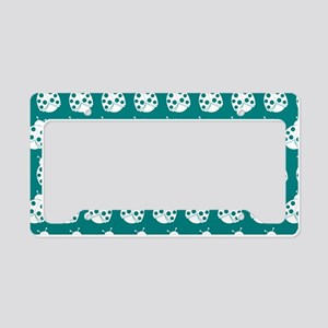 Teal and White Cute Ladybugs License Plate Holder