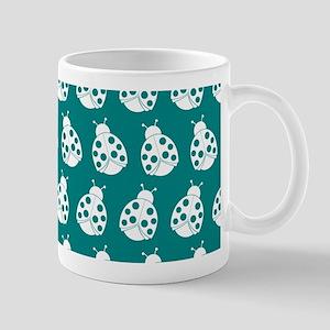 Teal and White Cute Ladybugs Pattern Mug