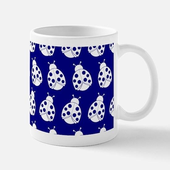 Blue and White Cute Ladybugs Pattern Mug