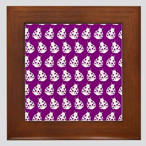 Purple and White Cute Ladybugs Pattern Framed Tile