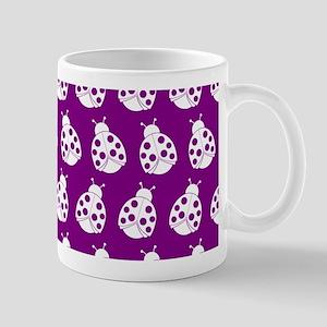 Purple and White Cute Ladybugs Pattern Mug