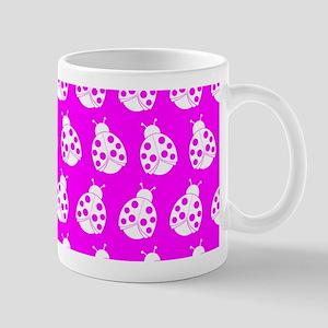 Fucshia and White Cute Ladybugs Pattern Mug