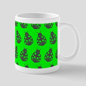 Lime and Gray Cute Ladybugs Pattern Mug