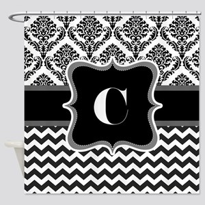 Cool Chevron demask with initial C Shower Curtain