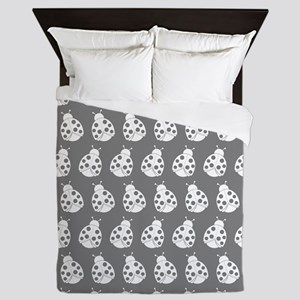 Gray and White Cute Ladybugs Pattern Queen Duvet