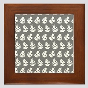 Gray and White Cute Ladybugs Pattern Framed Tile