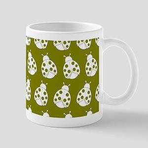 Olive and White Cute Ladybugs Pattern Mug