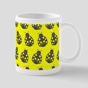 Yellow and Gray Cute Ladybugs Pattern Mug