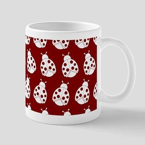 Red and White Cute Ladybugs Pattern Mug