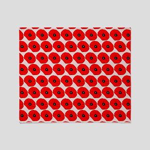 Big Red Poppy Flowers Pattern Throw Blanket