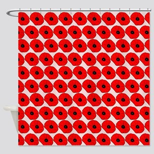 Big Red Poppy Flowers Pattern Shower Curtain