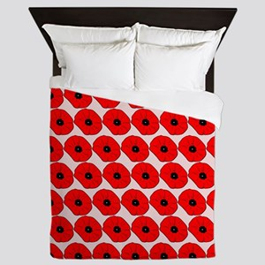 Big Red Poppy Flowers Pattern Queen Duvet