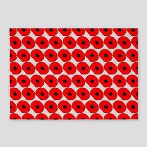 Big Red Poppy Flowers Pattern 5'x7'Area Rug