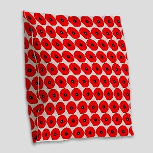 Big Red Poppy Flowers Pattern Burlap Throw Pillow