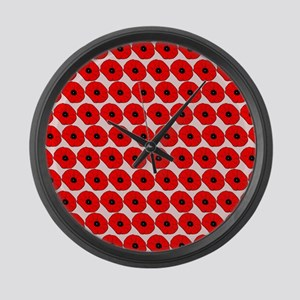 Big Red Poppy Flowers Pattern Large Wall Clock
