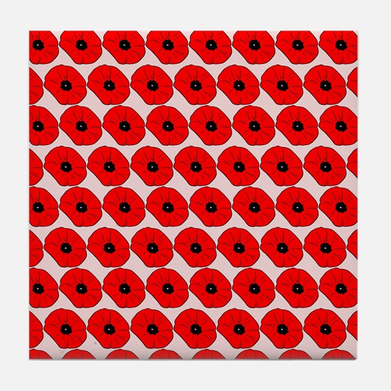Big Red Poppy Flowers Pattern Tile Coaster