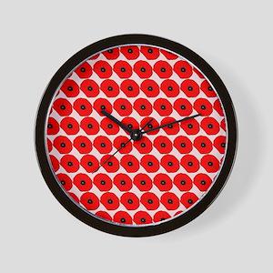 Big Red Poppy Flowers Pattern Wall Clock