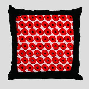 Big Red Poppy Flowers Pattern Throw Pillow