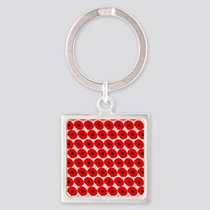 Big Red Poppy Flowers Pattern Square Keychain